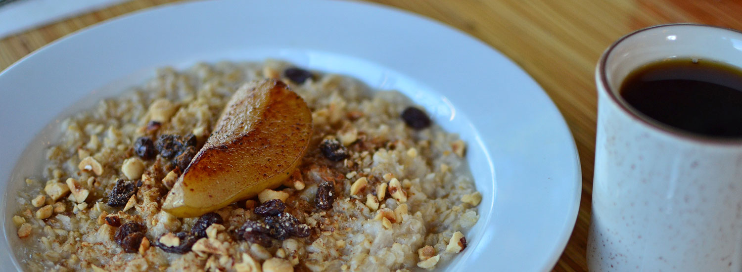 Oatmeal with poached pear